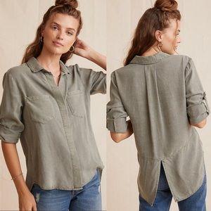 Bella Dahl Taupe Split Back Button Down Shirt